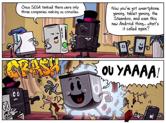 A console wars comic about the big three gaming platforms discussing the new consoles.