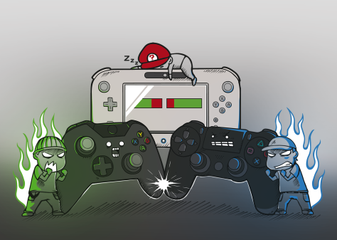 A illustration of personified versions of Xbox, Playstation, and Nintendo as a part of the console wars.