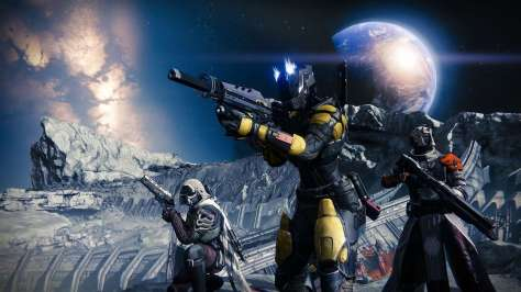 A screenshot of three guardians from Destiny, the video game