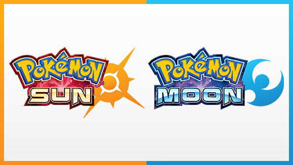 Pokémon Sun and Moon's logos, side-by-side.