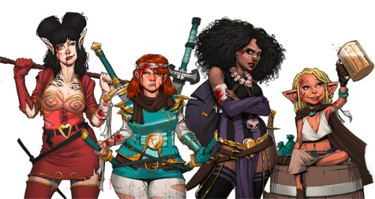 Cover art featuring all four members of the Rat Queens.