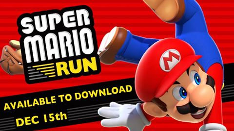 A poster for the release of the mobile game: Super Mario Run.