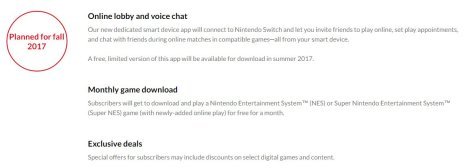 Details about the Nintendo Switch's online subscription plan.