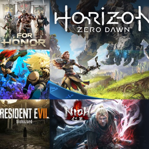 Pictures of several 2017 video games.