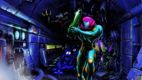 Promo art for Metroid Fusion.