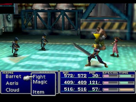 A battle scene from Final Fantasy VII featuring Cloud, Barret and Aeris.