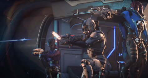 Mass Effect Andromeda characters shooting into the distance.