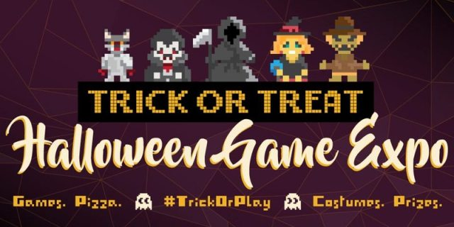 Banner for the Trick or Treat Halloween Game Expo.